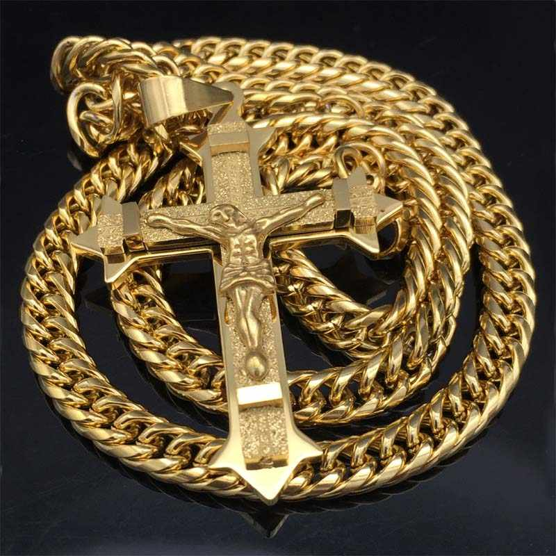 "Gold tone Cross Christ Jesus Pendant Necklace Stainless Steel Link rolo Chain Heavy Men Jewelry Gift 21.65"" 7mm"