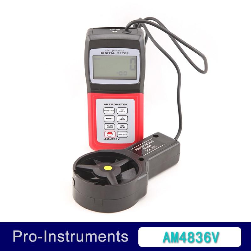 AM-4836V Handheld Digital Anemometer Air Volume Wind Speed Meter / Temperature Measuring with Vane Sensor Backlight holdpeak hp 856a digital wind speed air volume meter anemometer usb handheld with data logger and carry case