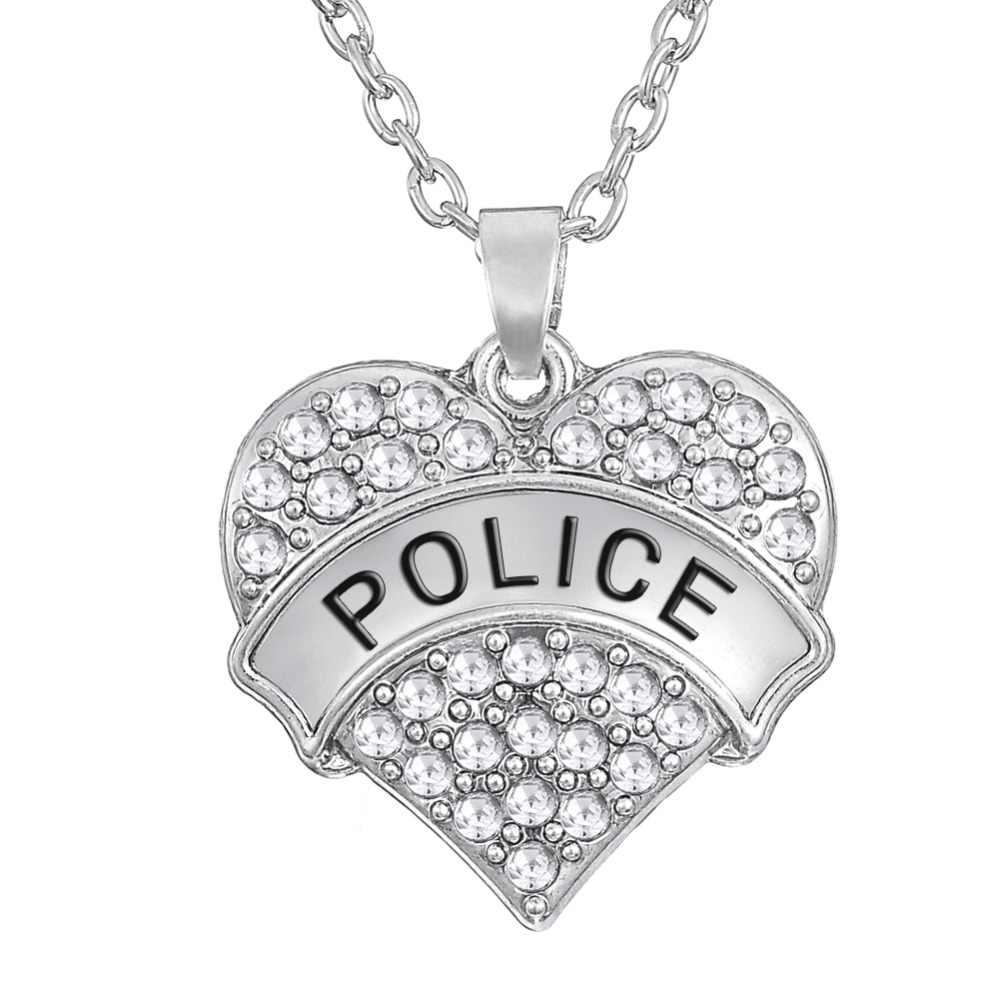 A minha forma de Combate a Incêndios A Mãe Da Força Aérea Do Exército Polícia Policial Cristal Coração Pingente de Colar de Jóias para As Mulheres Da Família Militar