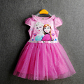 """Summer New Fashion Girls Dress Cotton """"Let It Go"""" Pattern Lace Dress For Girls Casual Short Sleeves O-neck Dress For Baby Girls"""