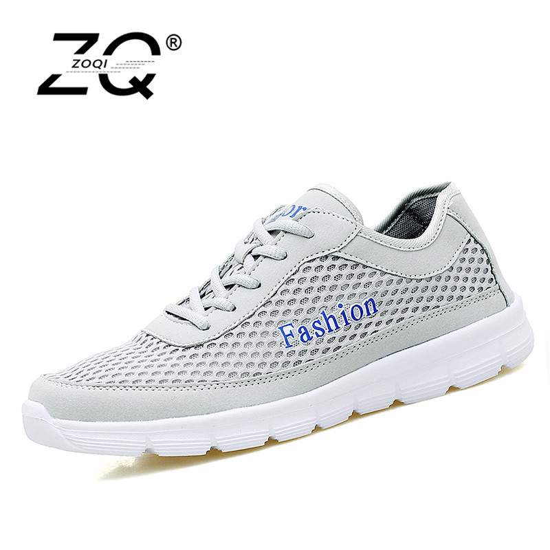 цены ZOQI Men Shoes 2018 Summer Sneakers Breathable Casual Shoes Fashion Comfortable Lace up Men Sneakers Shoes Plus Size 38-48