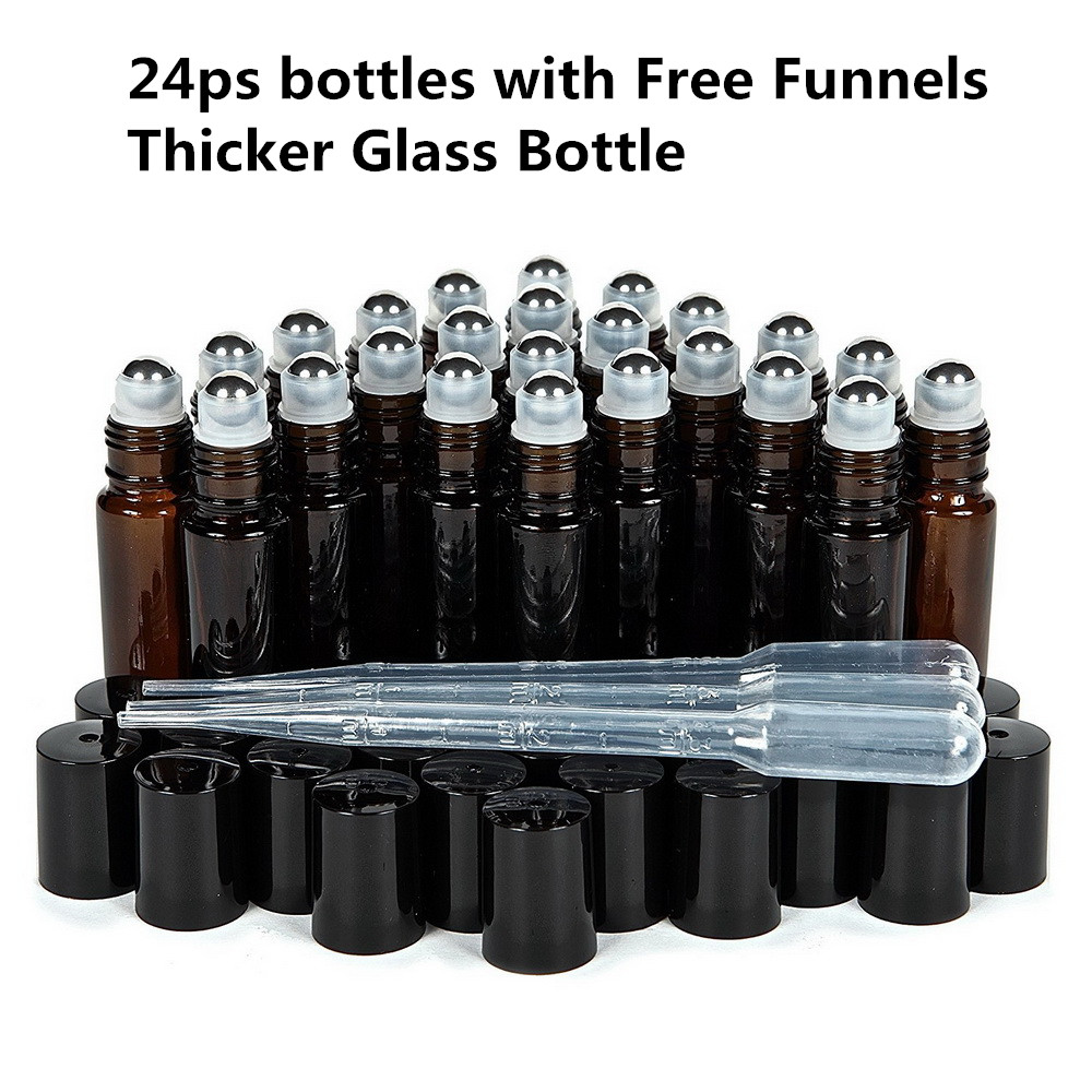 10ml Empty Amber Thick Glass Essential Oil Roll On Bottle Vials With Stainless Steel Metal Roller Ball For Perfume Aromatherapy