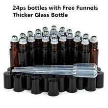 10 Ml Lege Amber Dikke Glas Essentiële Olie Roll Op Fles Flesjes Deodorant Fles Met Metalen Rollerball Voor Parfum aromatherapie