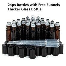 Botella vacía de vidrio ámbar grueso con Roll on botella de aceite esencial, viales, botella para desodorante con bola de rodillo de Metal para Perfume y aromaterapia, 10ml