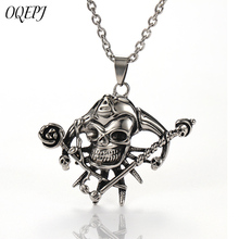 OQEPJ Hiphop Rock Skull Rose Necklaces Pendant  Stainless Steel Men Unique Necklace Prevent Allergy Jewelry Personalized Gifts