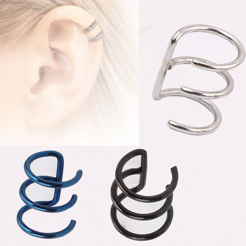 16g ear cuff silver gold helix cartilage earring emo goth. Black Bedroom Furniture Sets. Home Design Ideas