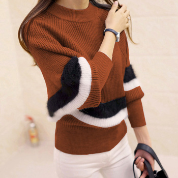 PEONFLY 2018 Autumn Women Sweaters Fashion O-Neck Batwing Striped Pullovers Plus Size Loose Knitted Sweaters Female Jumper Tops 1