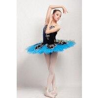 Бесплатная доставка Профессиональный индивидуальный заказ темно синий Балетные костюмы пачка, Балетные костюмы сценические костюмы лиф и