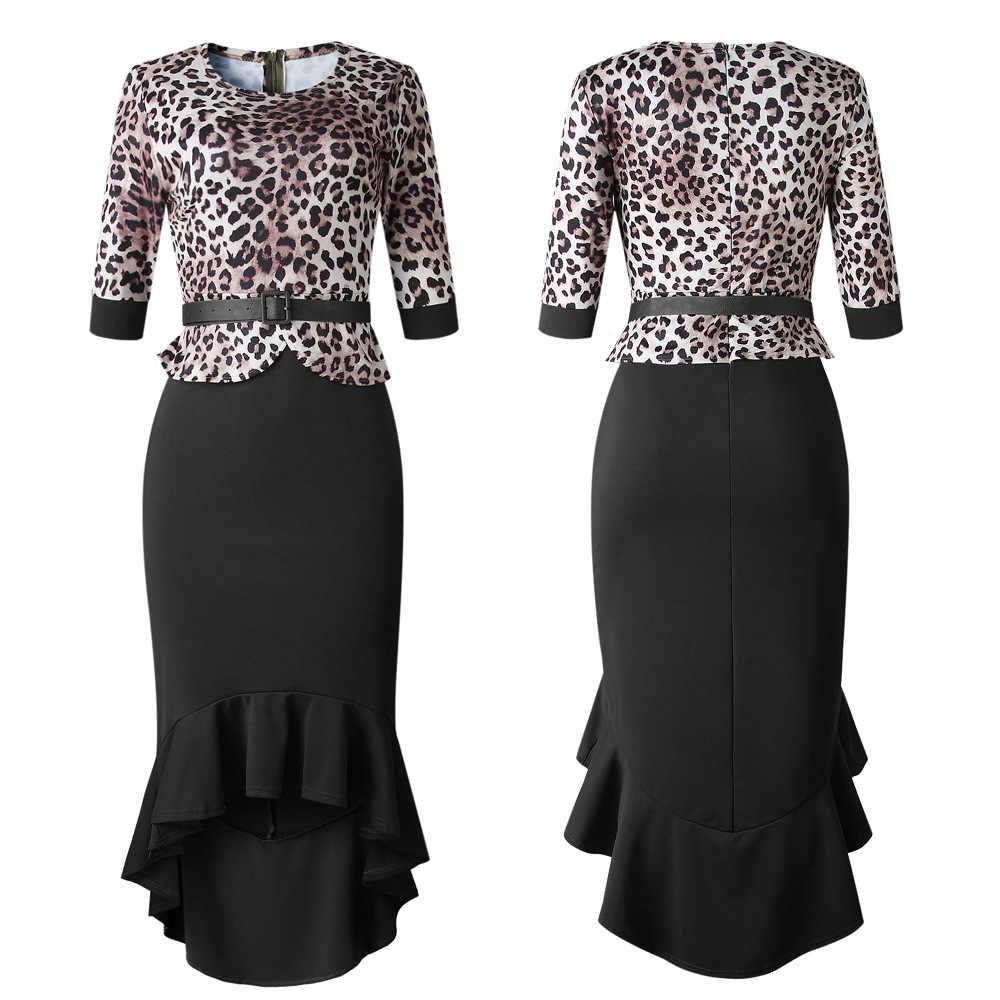 Пояс высокого качества осень зима Леопардовый принт женские платья с круглым вырезом модное повседневное сексуальное облегающее Бандажное Клубное Ночное платье миди