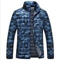 Camuflaje del collar del soporte delgado chaqueta de invierno de los hombres de pato blanco abajo hombres de la capa delgada de invierno casual ultraligero camuflaje para los hombres