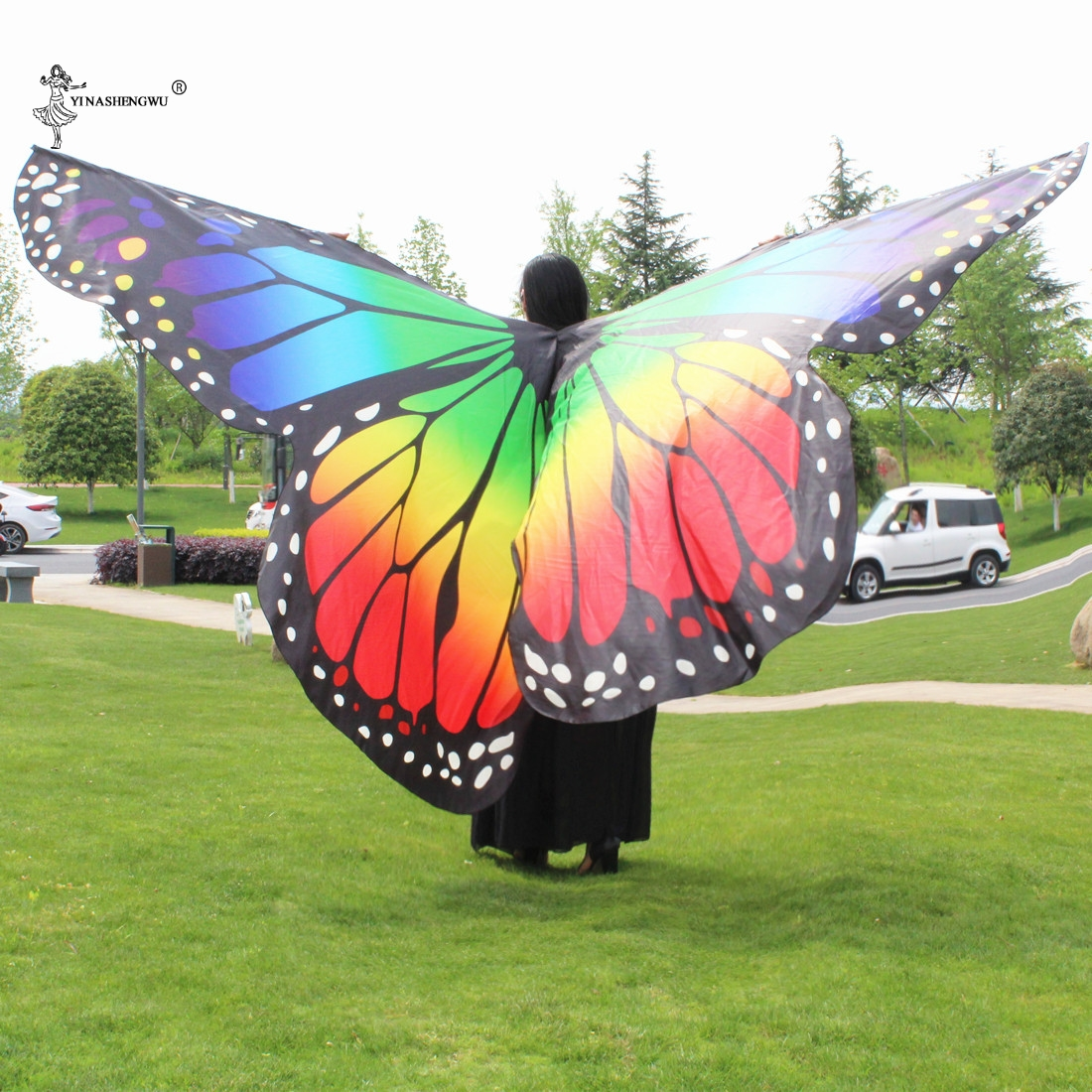 Adult and child Rainbow butterfly 360 degree big butterfly Props High quality Belly Dance Isis Wings Oriental bellydance wings