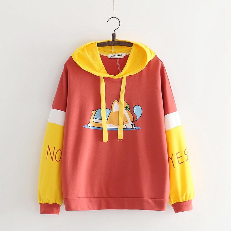 New 2018 Cartoon  Long Sleeves Dog Printing Harajuku Girl  Pullovers Tops Hoodie Woman  Sweatshirts  Womens Hoodies Pullover