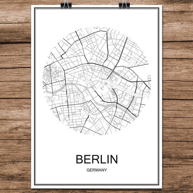 Famous world city street map berlin germany print poster abstract coated paper bar cafe living room