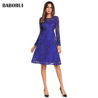 Baborui Elegant Lace Dresses Flower Vintage Women Spring Autumn Dress Party Vestido Red Black Blue Solid