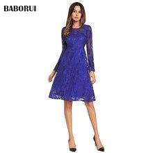 Baborui элегантный Кружево Платья для женщин цветок Винтаж Для женщин Демисезонный платье Вечерние Vestido Красный, черный, синий цвет одноцветное Женское платье 1292