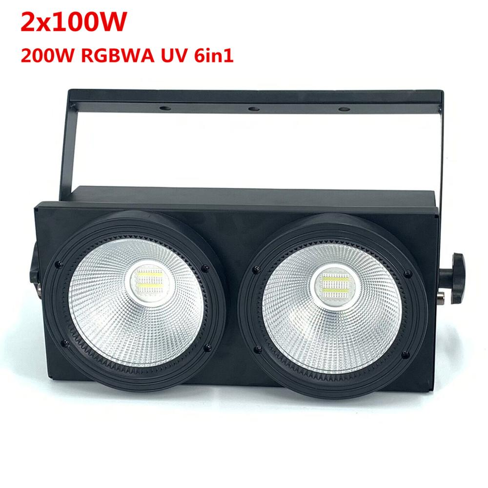 2x100W Led COB Par Lights 200W Led Audience Blinder Lights RGBWA UV 6IN1 Warm White Cool White Led Strobe Wash Disco Dj Light