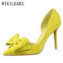 Célèbre marque Papillon-noeud hign talons chaussures femme sexy pompes rose bigtree chaussures femmes italien euros OL lolita chaussures stiletto