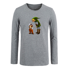 Funny cartoon Super Mario and The Legend of Zelda Link T shirt Cotton Long Sleeve T-shirt Gifts for Boy  Casual Clothing