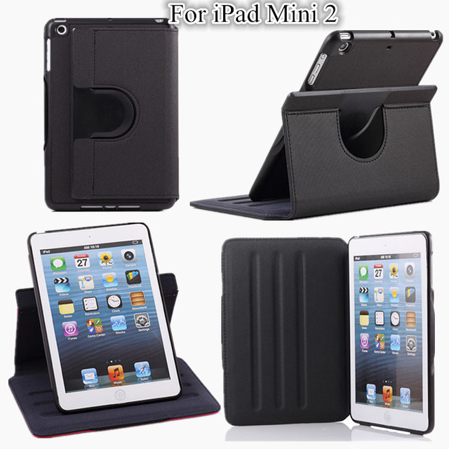 Mini Tablet Cowboy Grain Stand Leather Case For Apple iPad Mini 2 Cover Case ,8 Color +screen protectors