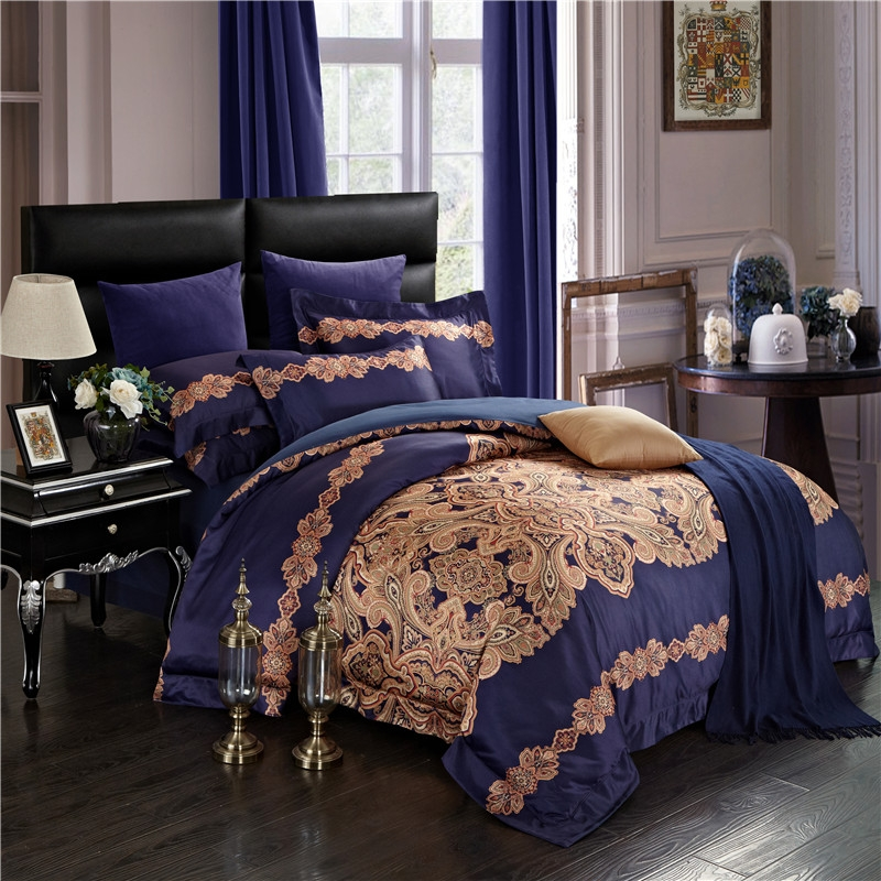 IvaRose Europe style 4Pieces Luxury Bedding Set King Size Queen Bed Set silk stain Duvet Cover Bed Sheet PillowcaseIvaRose Europe style 4Pieces Luxury Bedding Set King Size Queen Bed Set silk stain Duvet Cover Bed Sheet Pillowcase