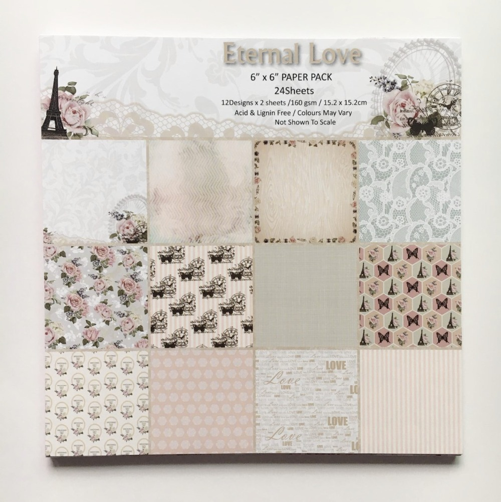 Scrapbook paper cheap - New Style 6 Inch Paper Pads Eternal Love Theme Patterns 24sheets Diy Scrapbooking Paper