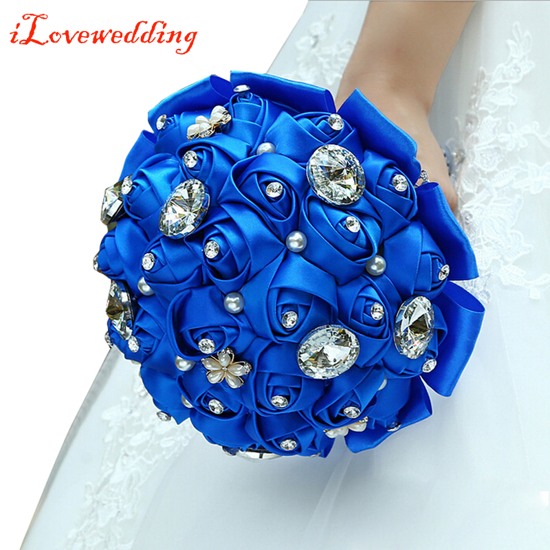 Us 30 51 10 Off 2016 New Design Royal Blue Silk Roses With Rhinestone Artificial Bridal Wedding Bouquets Women Bouquet Demoie D Honneur D17 In