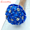 2016 New Design Royal Blue Silk Roses with Rhinestone Artificial Bridal Wedding Bouquets Women Bouquet Demoiselle d'honneur d17