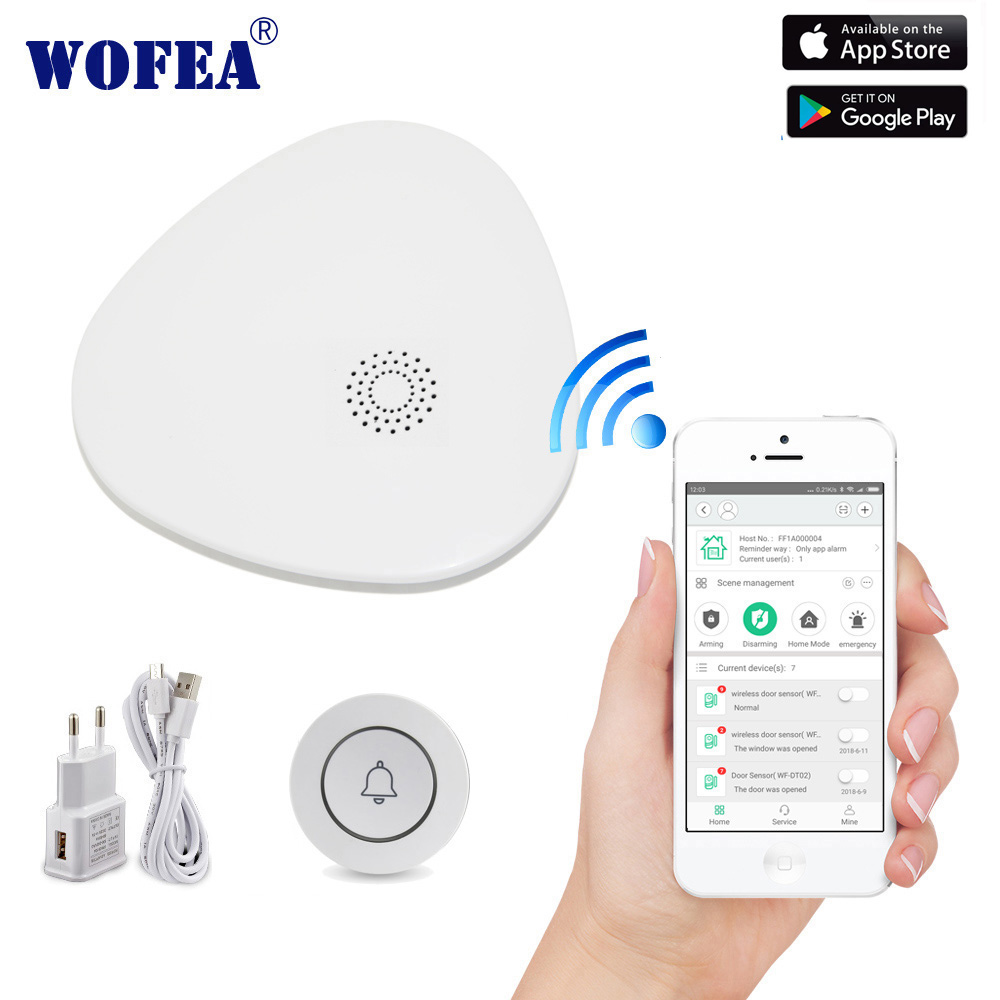 Wofea Wifi Doorbell  One Key Emergency SOS Button System With Phone Message Push