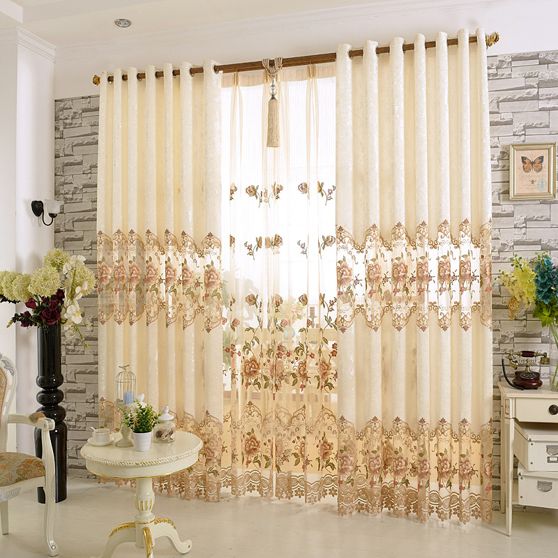 Luxury Europe Embroidered Window Curtain For living Room Bedroom Blackout Curtain Window Treatment Drapes Home Decor