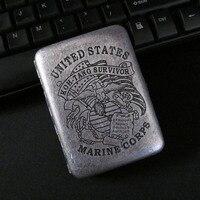 Kalınlaşma Retro Duman Sigara 16 Kalemler Derin Oyma Antik Gümüş Bakır Süreci Cigaret Kutusu