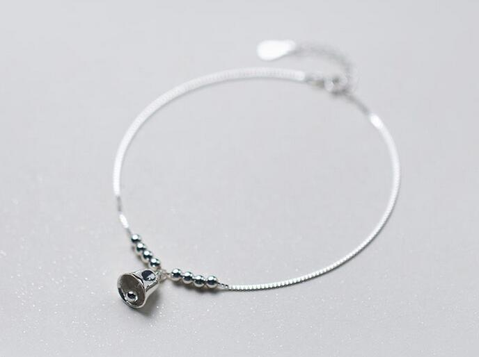 (So Thin) 1pc 100% Real. 925 Sterling Silver Jewelry Bell Jinjle / Chime Sounds &Beads Ball Anklet Bracelet GTLs432