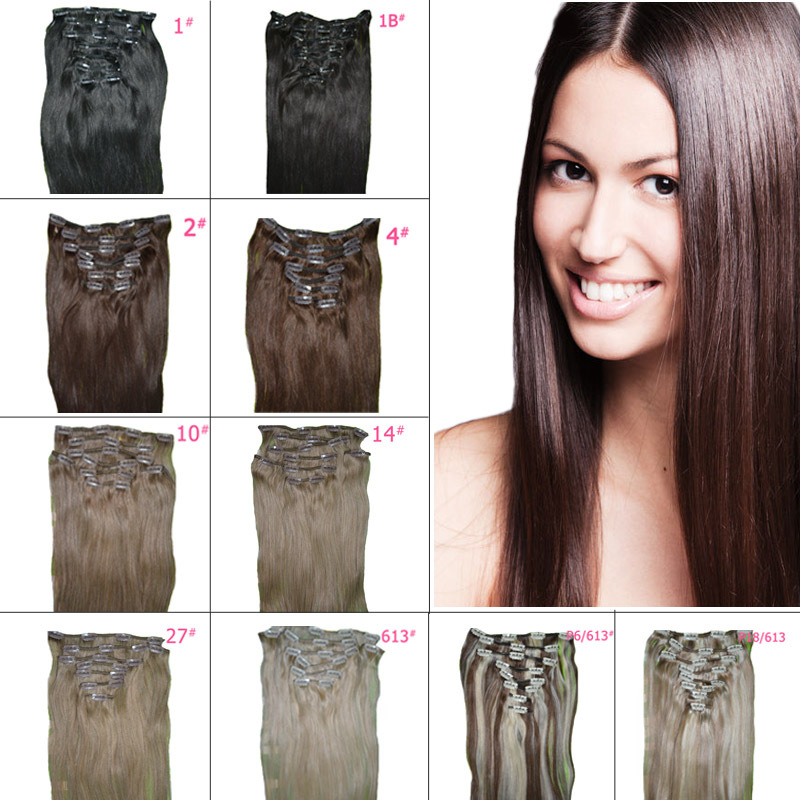 Metal Clips High Quality 18 inch 8 Pieces/set Straight Clip in Natural Hair Extensions, Blonde, Brown Clip ins, Free Shipping pretty short straight blonde 8 synthetic hair wigs free shipping