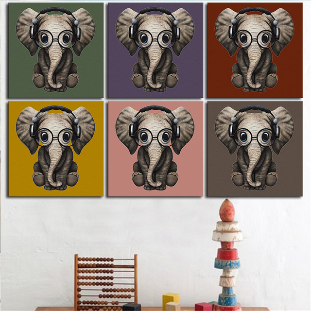 Elephant Wall Art Canvas Painting Oil Painting 6 Pieces/set Modern Cartoon  Animals Wall Pictures
