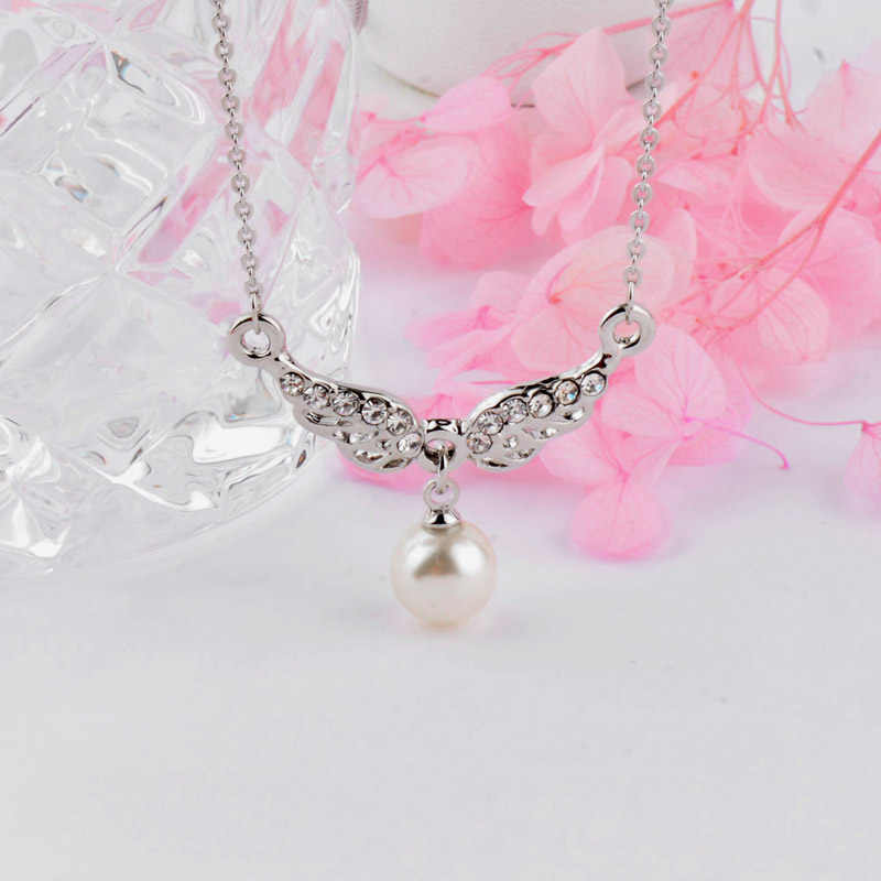 SINLEERY Elegant Gray White Pearl Pendant Necklace Silver Color Chain Angel Wings Necklaces For Women Girls Jewelry Xl277 SSH