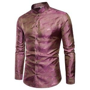 Image 4 - Camisa de cetim de seda brilhante dos homens glitter suave ondinha de água impressão camisas vestido masculino discoteca festa de discoteca palco camisa chemise homme