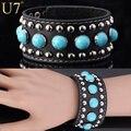 U7 Genuine Leather Bracelet Turquoise Fashion Jewelry Women's Gifts Sale Resizable Bohemia Bracelet H523