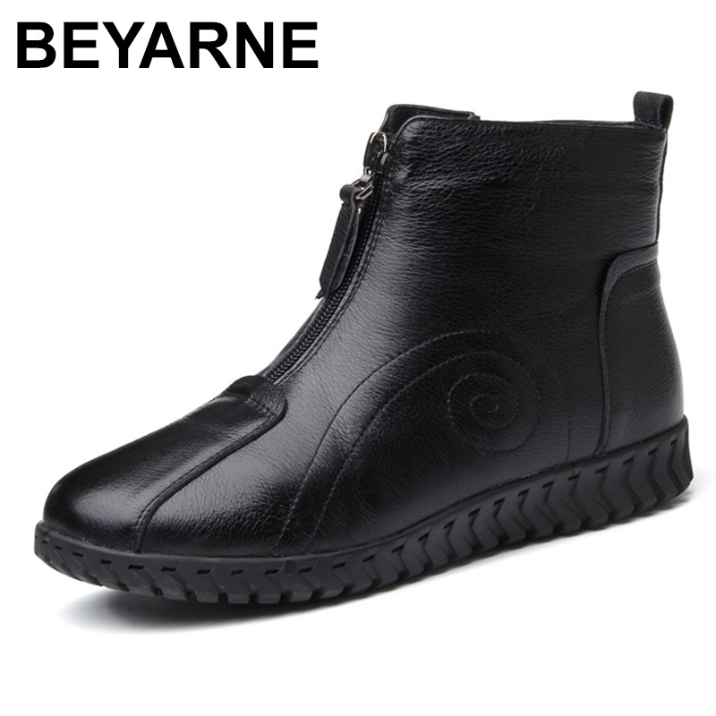 BEYARNE Genuine Leather Ankle Boots Women Winter Warm Snow Boots Soft Round Toe Zipper Women Mother