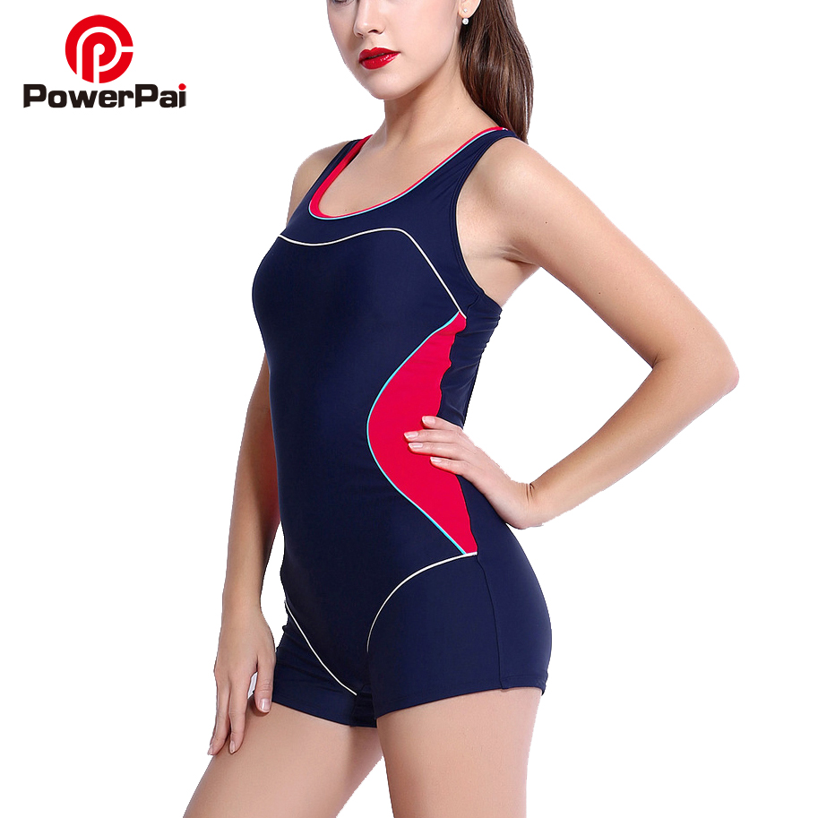 PowerPai One Piece Swimsuit plus size 2017 Swimwear Women Bathing Swimming Suit For Girls Swim beach wear bodysuit May to 6XL plus size scalloped backless one piece swimsuit
