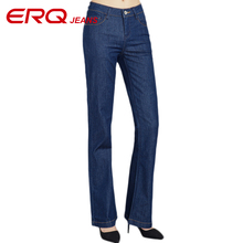 ERQ Women Jeans Femme Slim Straight High Waist Cotton Plus Size Denim Jeans Womens Pants For
