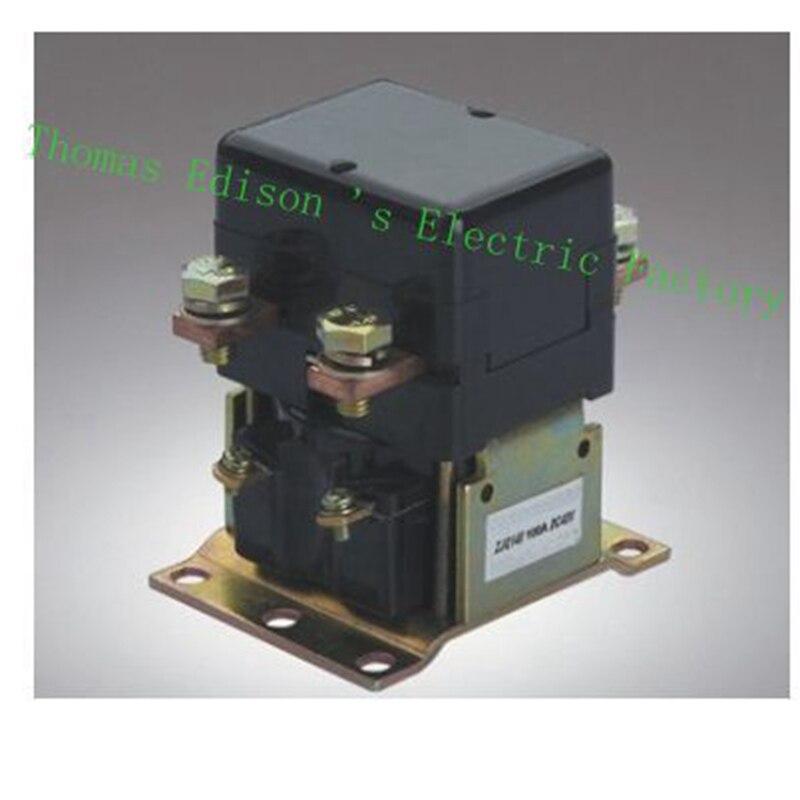 ZJQ-100 ZJQ-1XX GE100A NO (normally open) 12V 24V 36V 48V 60V 72V 100A DC Contactor for motor forklift electromobile wehicle car dc reversing contactor dc182b 537t for forklift 48v 200a zapi b4dc21