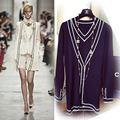 big fan small fragrant two pcs a sets of  female long knit v neck cardigan sweater jackets + knitted vest