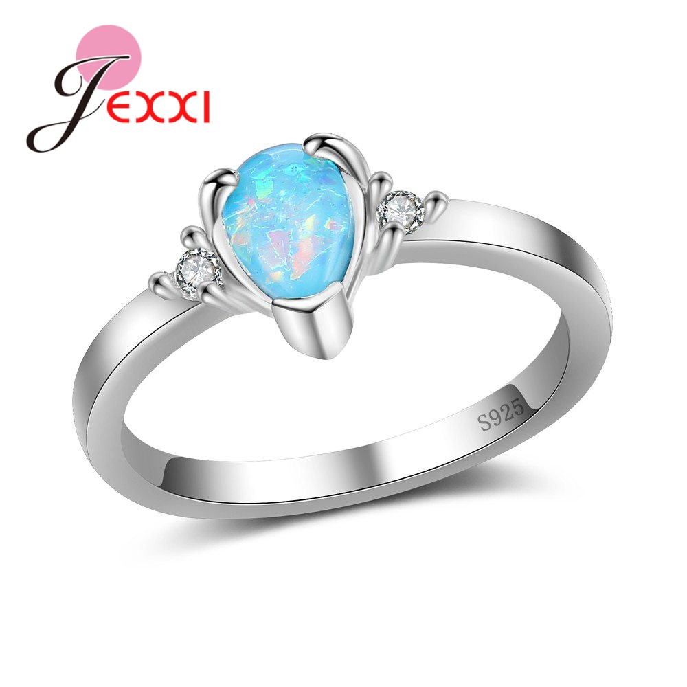 JEXXI New Arrival Sterling 925 Silver Accessories Pretty Charm Finger Rings For Ladies/Women With Charm Drop Shape Opal Stone