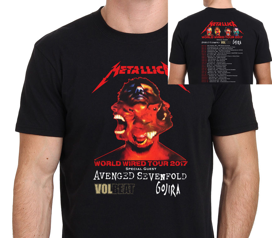 metallica world wired tour 2017 with dates t shirt men two sides casual 100 cotton tee usa size. Black Bedroom Furniture Sets. Home Design Ideas