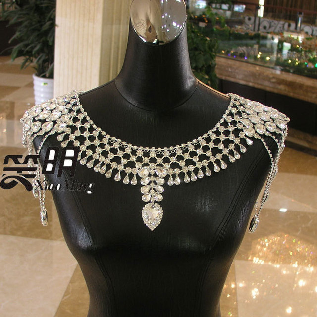 Collar Collares Luxury Bridal Wedding accessories Necklace Earrings bridal shoulder Chain Shoulder straps jewelry