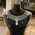 Collar Collares de Lujo de Novia accesorios de La Boda Pendientes Del Collar nupcial del hombro correas de Hombro de la Cadena de joyería