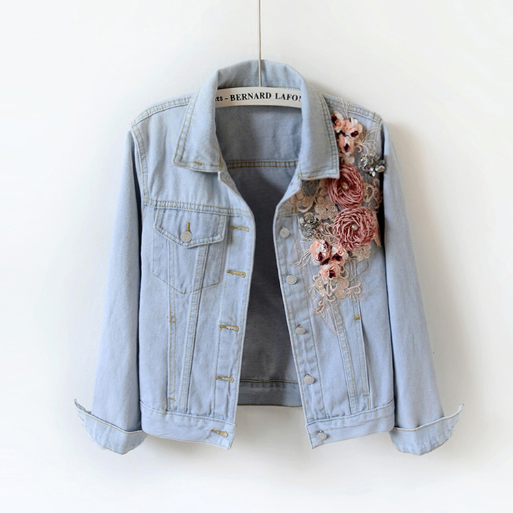 Autumn Women Slim Embroidered Three dimensional Flowers Long Sleeve Denim Jacket Women s Fashion Jeans jacket