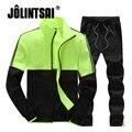 Jolintsai 2017 Плюс Размер Спортивной Мужские Куртки Набор Leisure Suit Мужчины Толстовки Спортивные Костюмы Случайные Sudaderas Hombre Толстовка Мужчин