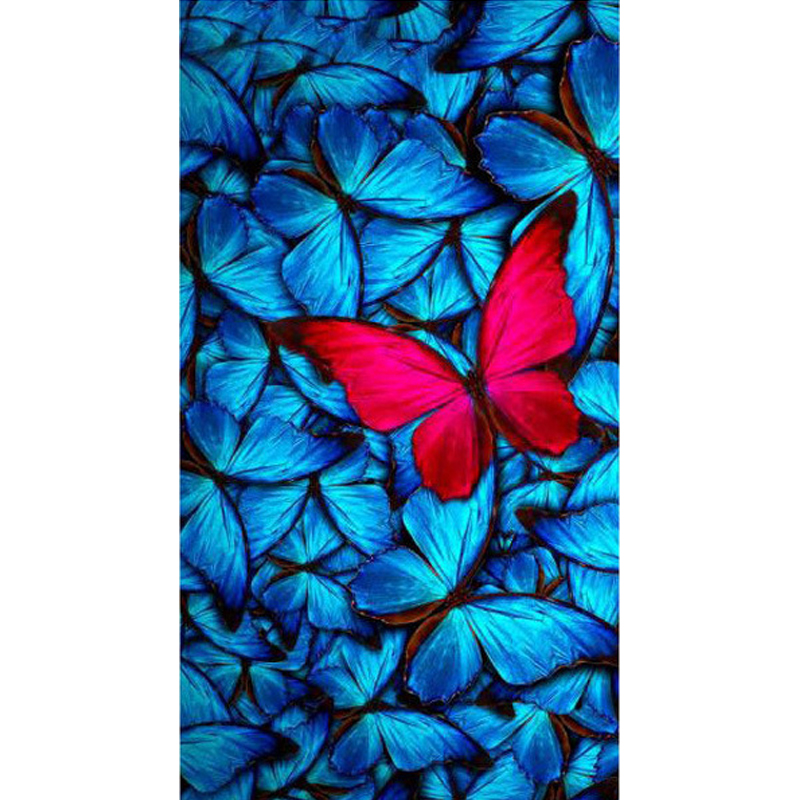 5D DIY Full Round Drill Diamond Painting Colorful Butterfly Pattern Cross Stitch Diamond Embroidery Wall Stickers