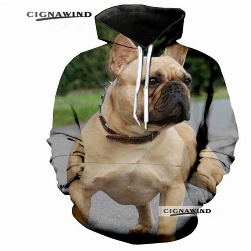 Men's Clothing 3d Cute Cartoon French Bulldog Fashion Men Women Zipper Hoodies Jacket Casual Long Sleeve Zip Up 3d Hooded Sweatshirt Tracksuits