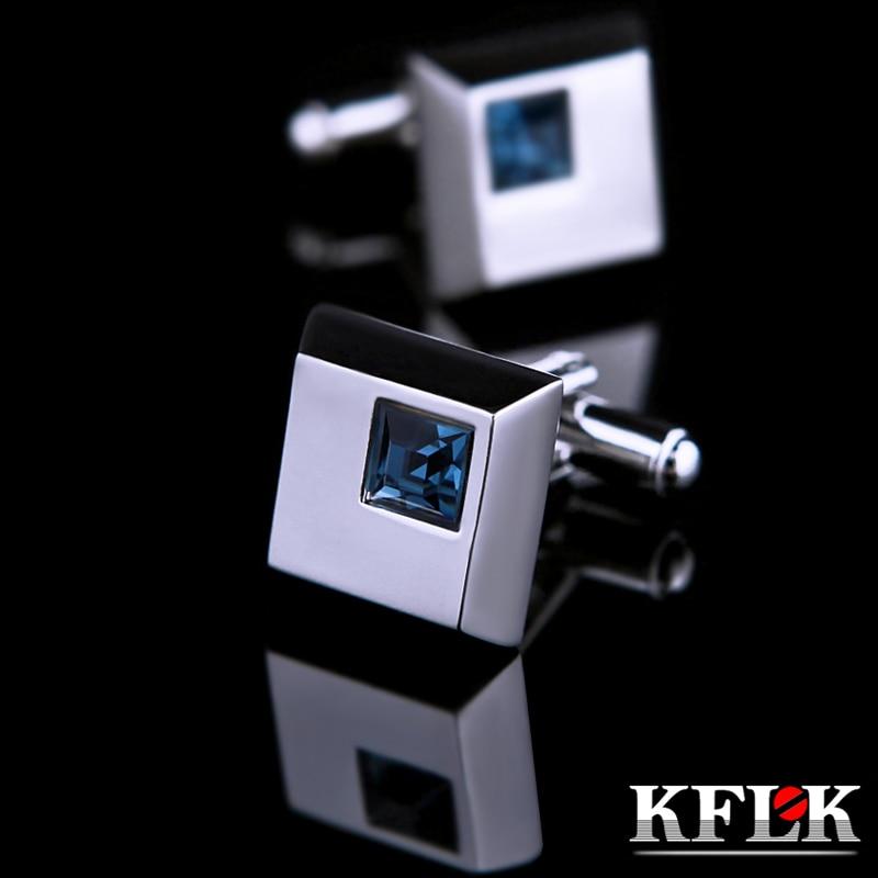 KFLK 보석 셔츠 패션 커프스 남성 브랜드 커프스 버튼 블루 크리스탈 커프스 링크 고품질 abotoaduras 무료 배송